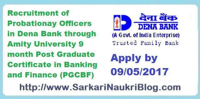 Dena Bank Probationary Officer recruitment by Amity PGCBF