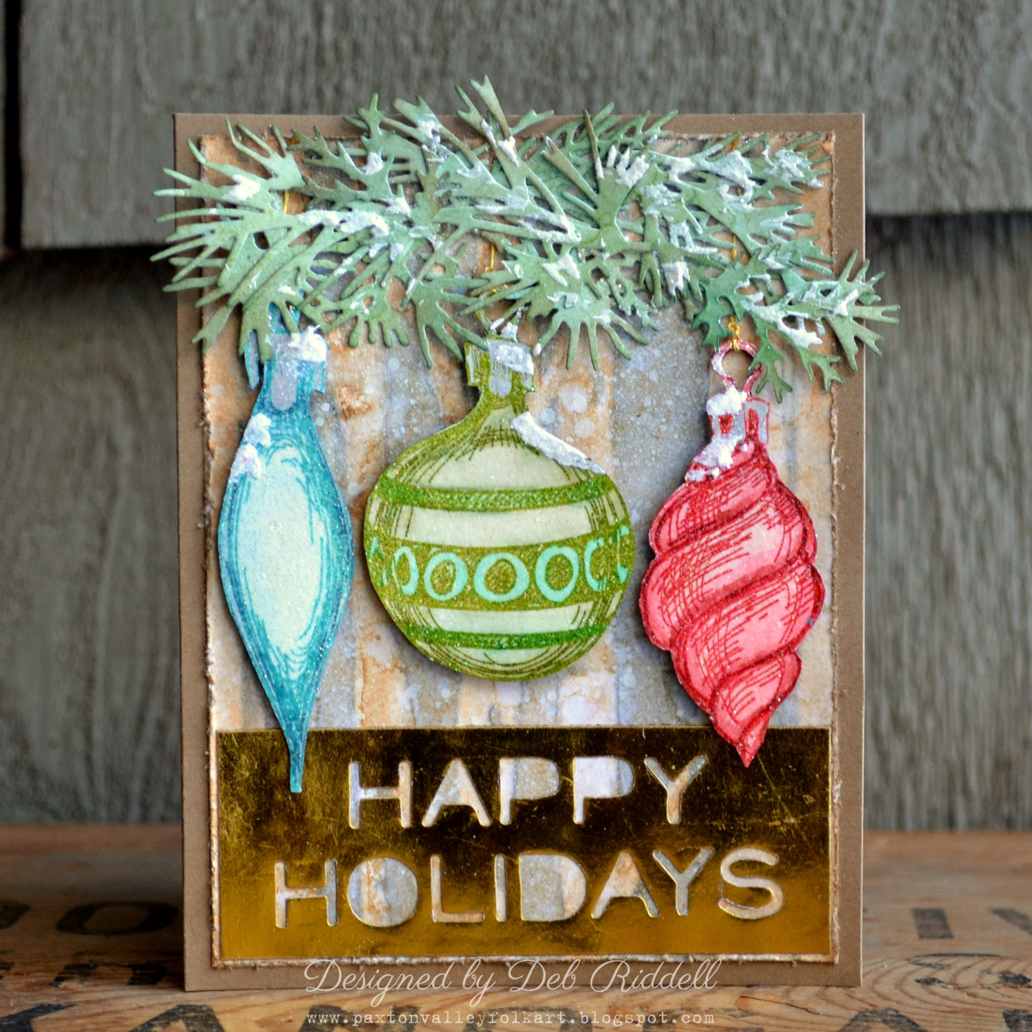 Mixed Media Mojo: Happy Ornaments Mixed Media Christmas Card
