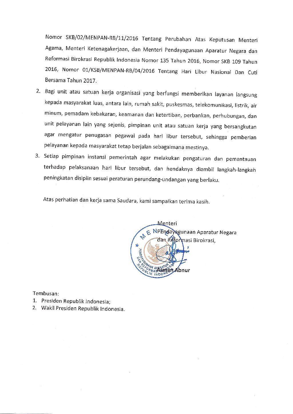 Download Surat Menteri Panrb Tentang Pelaksaan Hari Libur Nasional 15 Februari 2017 Sd Negeri