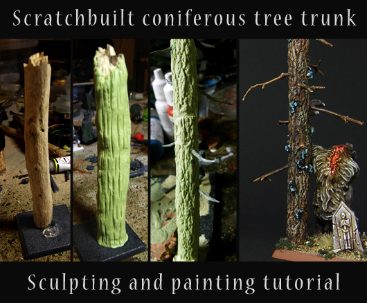 Title card with the tutorial name and several stages of the tree-making tutorial - from a twig, through unpainted sculpts to finished effect.