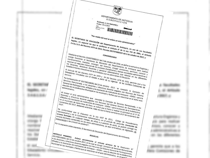 Modificación fecha de reunión de carácter educativo, pedagógico y jurídico para el municipio de Santa Rosa de Osos