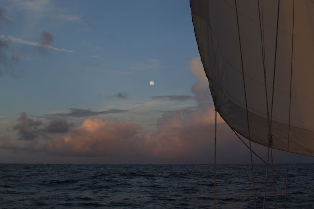 Hi definition photograph of moon over Caribbean and Tobago