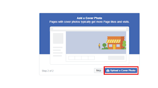 Upload a cover photo, Create a Facebook Page