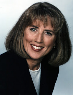 One of Janie's television publicity shots. Photograph of Janie Robinson, Travel Writer