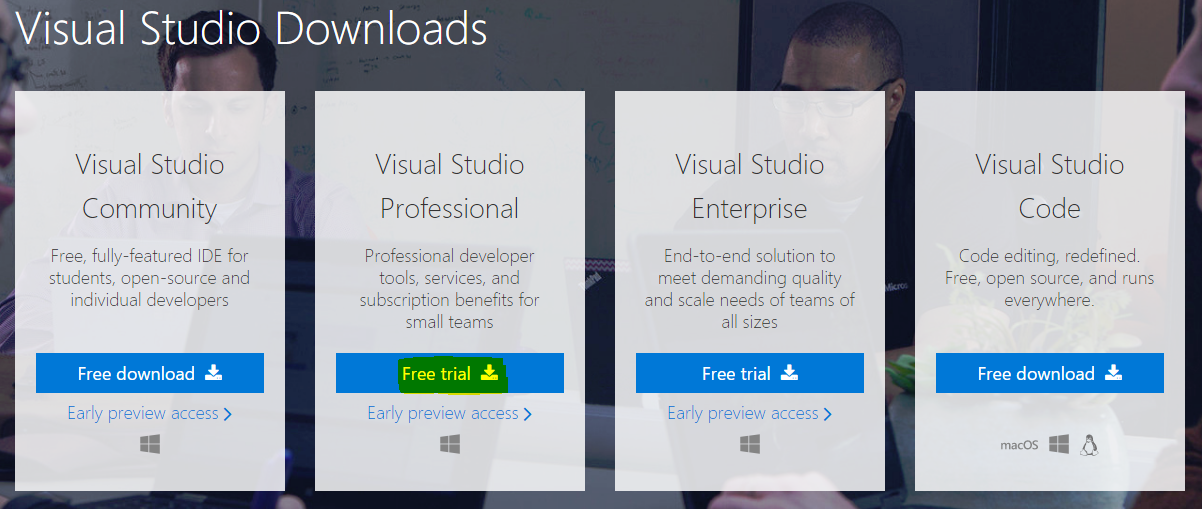 visual studio 2017 community free download offline