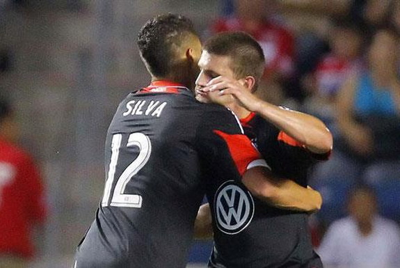 D.C. United player Luis Silva reacts after scoring a goal against Chicago Fire