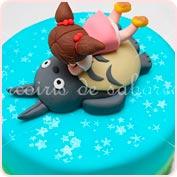 Tarta fondant Totoro y Mei