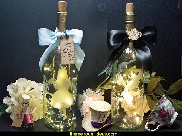 Alice in Wonderland party decorating ideas - Alice in Wonderland theme party decorations - Alice in Wonderland costumes -  Alice in Wonderlnd wall decals - Alice in Wonderland wall murals -  tea party theme Alice in Wonderland Tea PartyAlice Lighted Wine Bottles-Tea Party decoration
