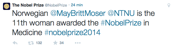 May-Britt Mose twitter Nobel