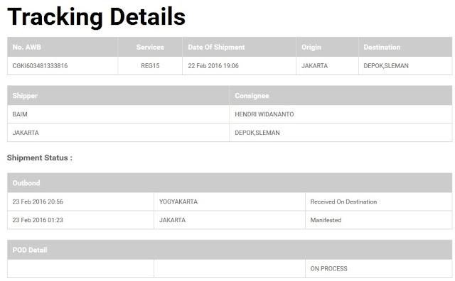 Cara cek Kiriman JNE - Received on Destination