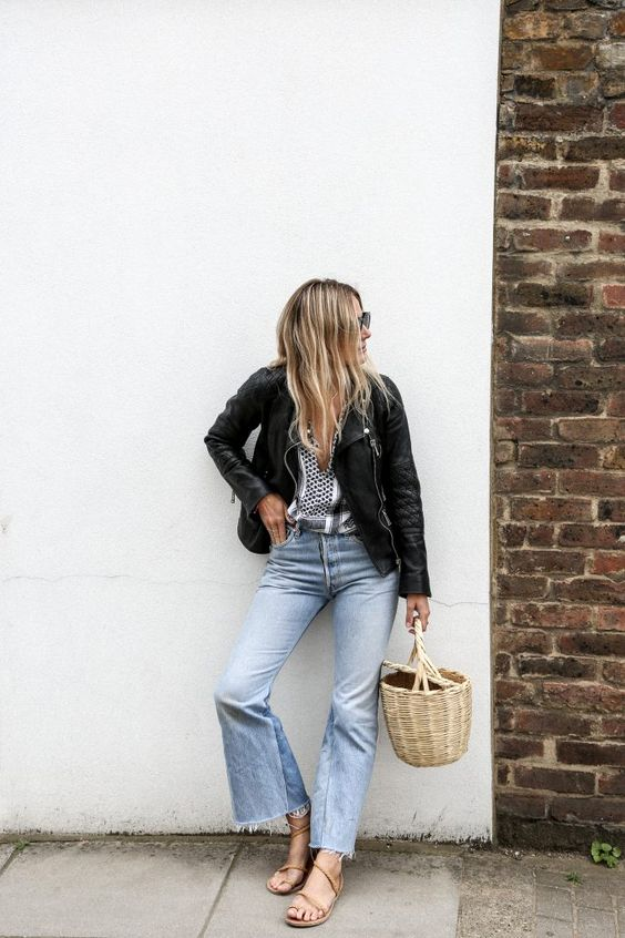 Lucy Williams Fashion Me Now, Leather Jacket, Frayed Hem Jeans, Gladiator Sandals