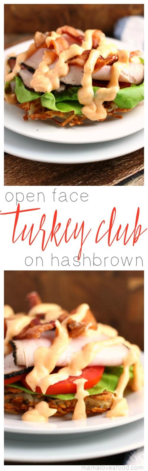 Open Face Hashbrown Turkey Club with Sweet Sriracha Garlic Mayo Recipe