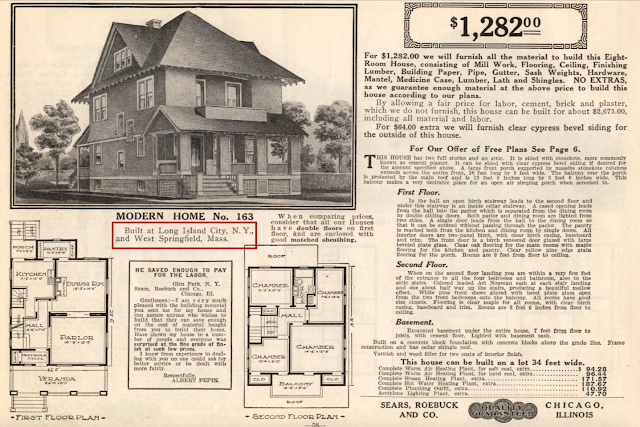 B & W image of Sears No. 163 in my 1914 Sears Modern Homes catalog