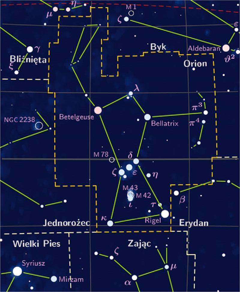 Mapa celeste de la Constelación de Orión