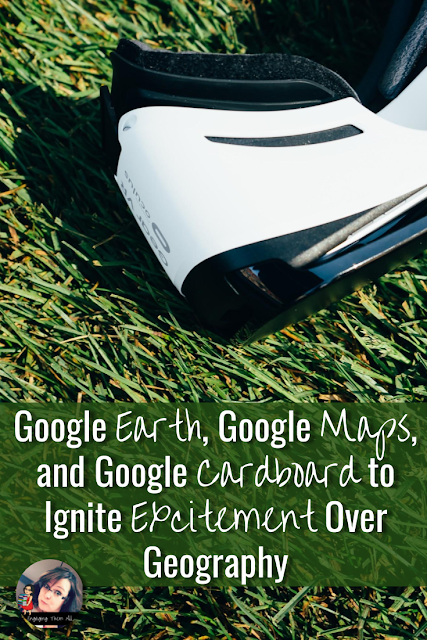 Get your students super psyched about by integrating Google Earth, Google Apps, and Google Cardboard Virtual Reality! #googleearth #googlemaps #googlecardboard #virtualreality #middleschool #geography