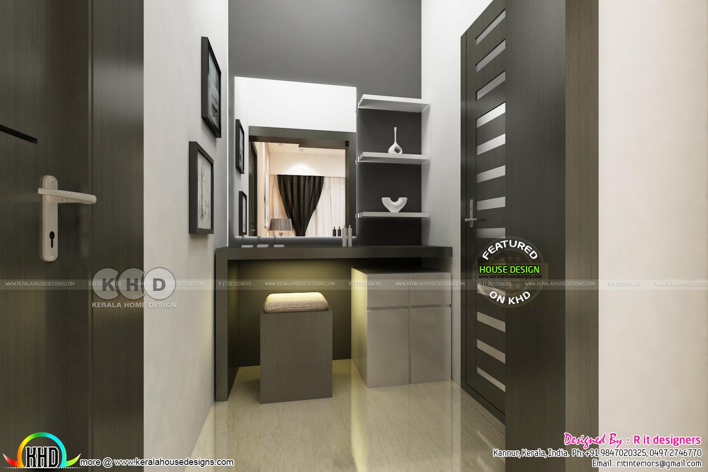 Bedroom and dressing area interior kerala home design for Dressing area designs