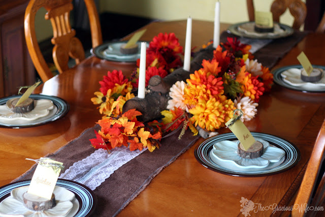 11 Thanksgiving Table Decor Ideas featuring Rustic Centerpiece and Place Cards from The Gracious Wife