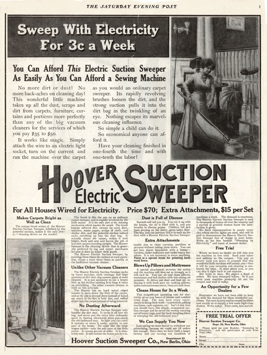 Hoover advertising in The Saturday Evening Post