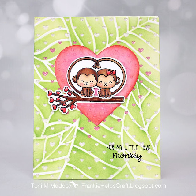 Sunny Studio Stamps: Love Monkey Love Themed Customer Card by Toni Maddox