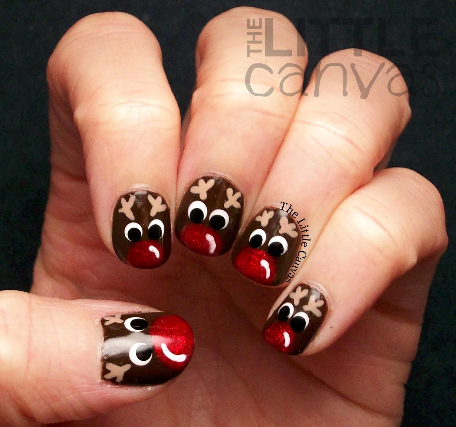 Little Google1 Nail Art: Rudolph Nail Art! + Tutorial!