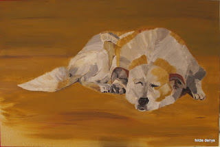 Dog painted by Hilde Denys owner of LoveLea