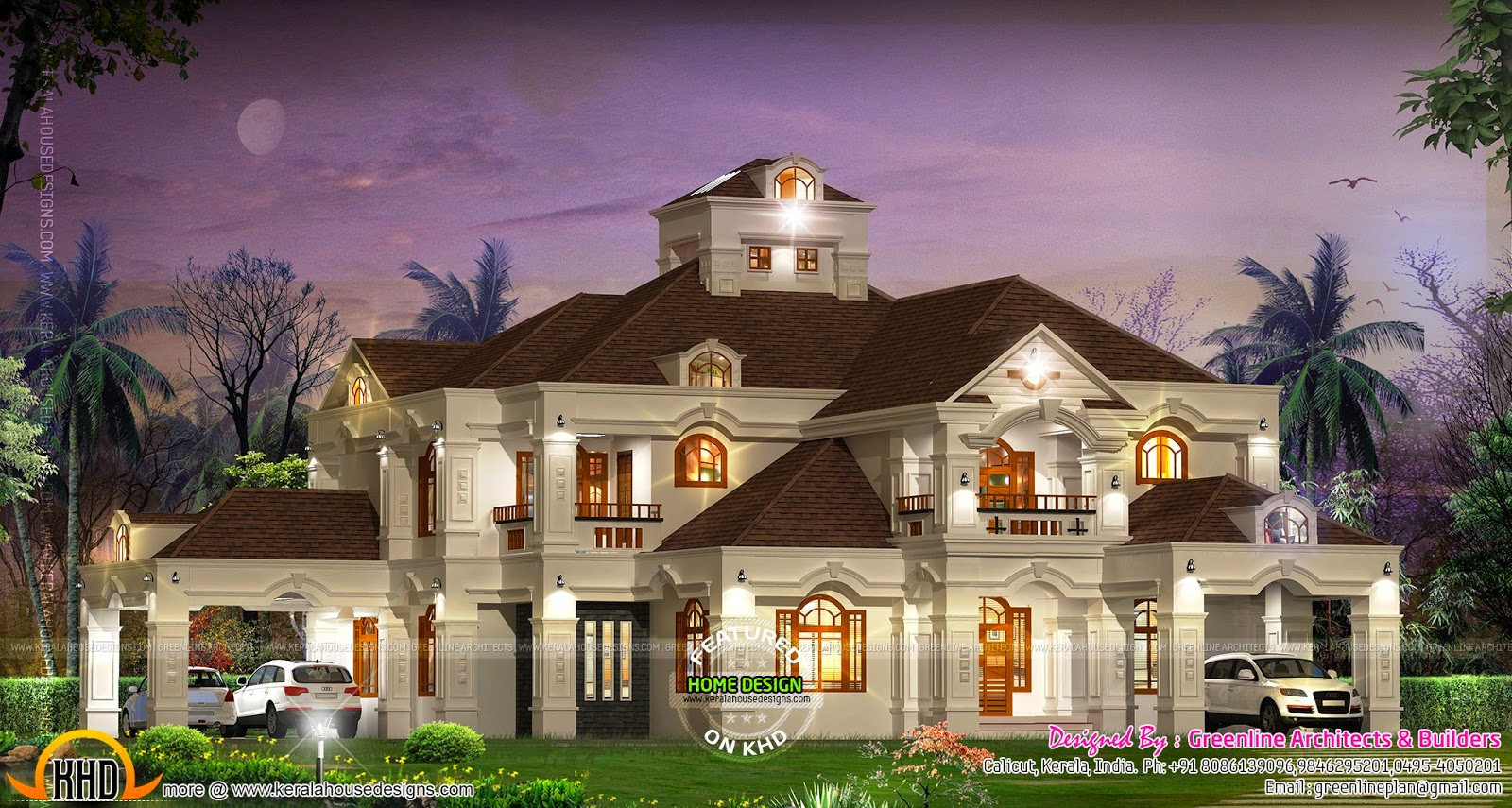 Luxury villa in kerala by greenline architects kerala for Colonial style home design in kerala