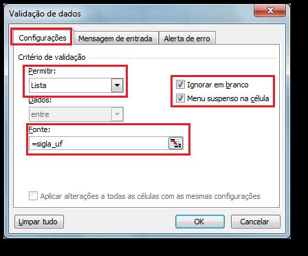 Usando Lista Suspensa com Validação de Dados no Excel 1
