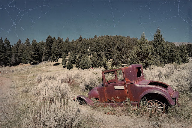 A wreck bakes in the Montana sun...