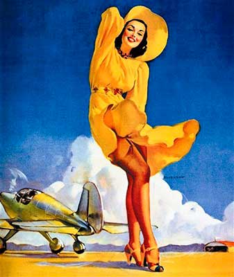 Gil Elvgren pin-up plane