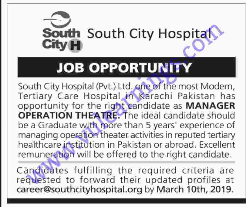Job in South City Hospital