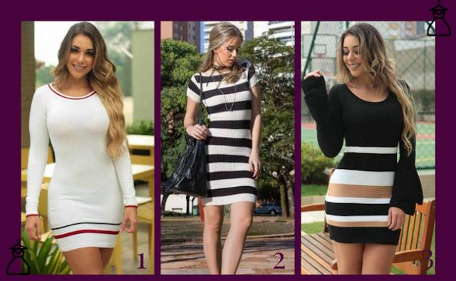 Vestidos de tricô curtos (modelos 1,2 e 3)