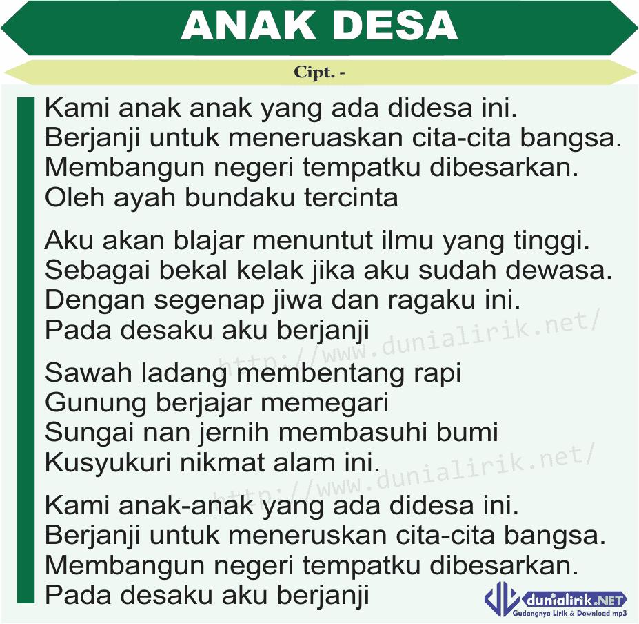 Download Lagu Deen Assalam: Lirik Lagu Anak Desa (Download Mp3