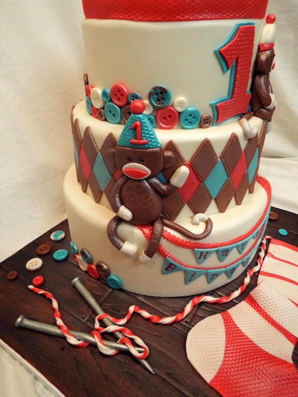 MyMoniCakes: Sock Monkey Cake!! Matching Smash Cake And