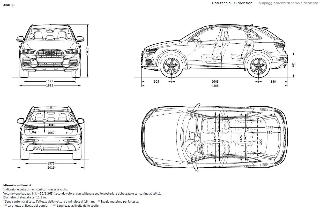 Schema tecnico quotato con tutte le dimensioni e misure di Audi Q3