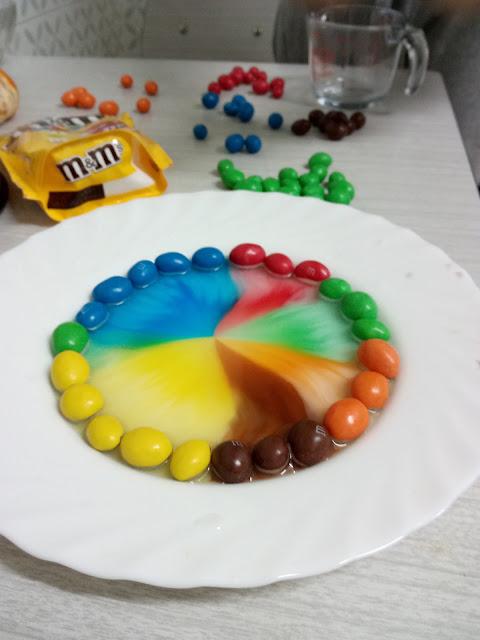m&m's en el exterior del plato y los colores se van hacia el interior. Muy colorido.