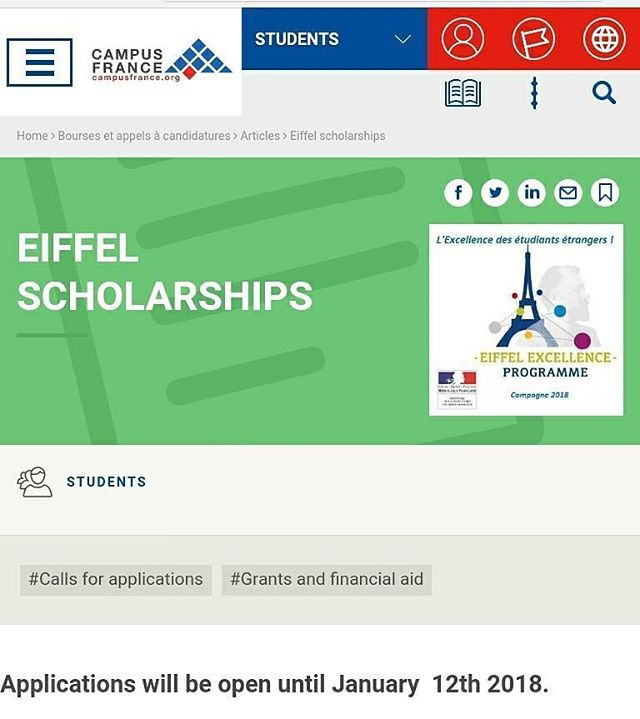 Beasiswa S2 & S3 Eiffel 2018 - 2019 Perancis