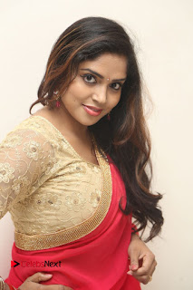 Karunya Chowdary Pictures in Red Saree at Neerajanam Audio Launch ~ Celebs Next