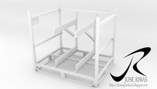 Renderización Rack para el transporte de piezas. Solido.