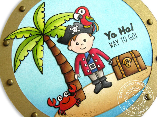 Sunny Studio Stamps Pirate Pals & Island Getaway Card by Mendi Yoshikawa