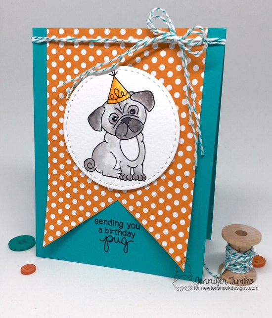 Pug Birthday Card by Jennifer Timko | Pug Hugs stamp set by Newton's Nook Designs #newtonsnook
