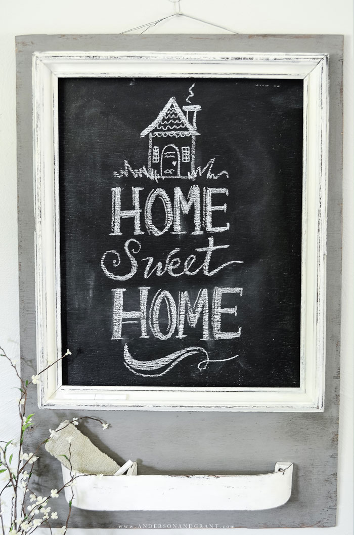 DIY chalkboard message center painted gray