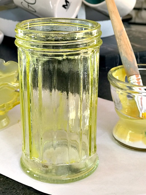 clear yellow faux depression glass