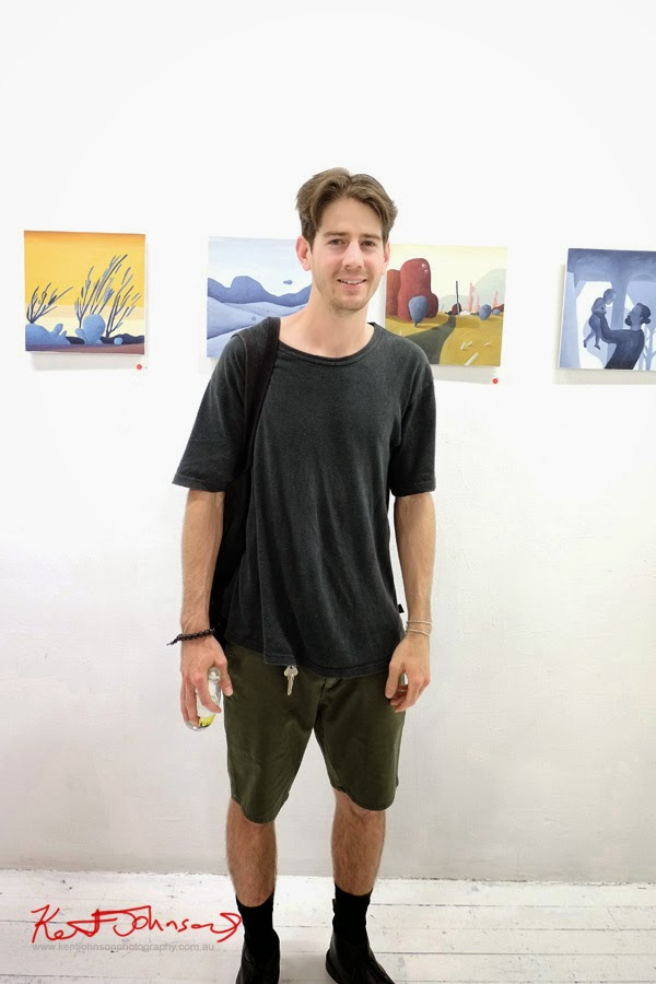 Artist Max Berry at his art opening, China Heights gallery - Photography by Kent Johnson.