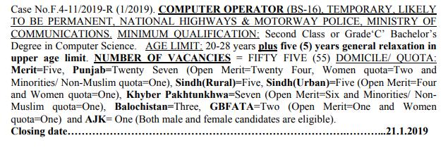 Computer Operator jobs 2019 By FPSC | 55 New Vacancies | Online Apply
