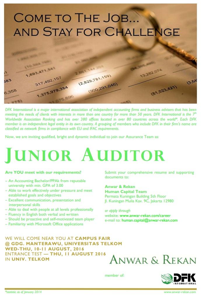 Lowongan Kerja Junior Auditor Anwar & Rekan