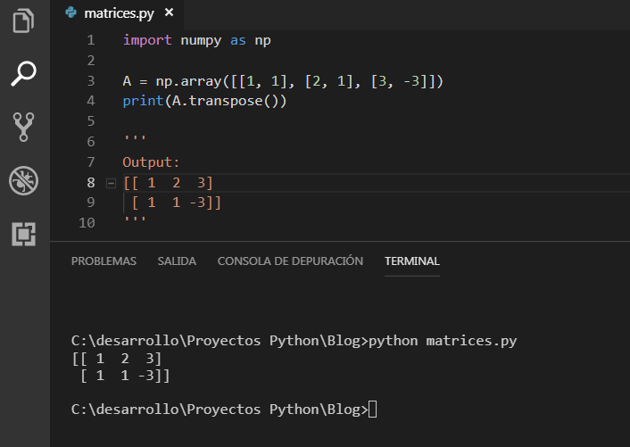 Transponer un a matriz con NumPy