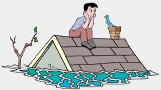 L'uomo sul tetto in attesa della benedizione di Dio