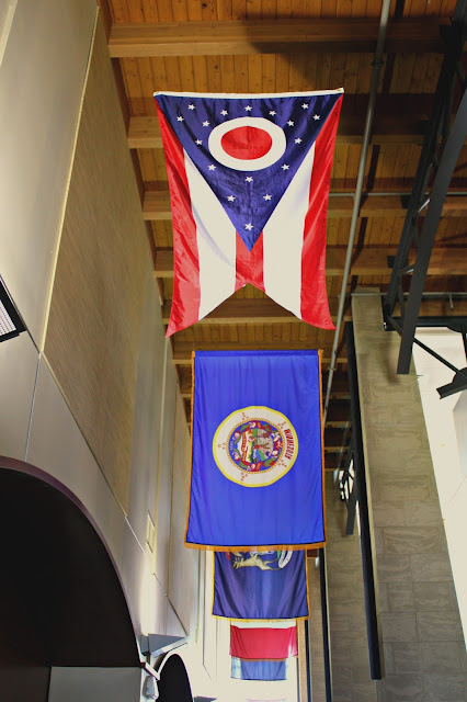Lovely parade of Midwest flags in The Civil War Museum in Kenosha, Wisconsin!
