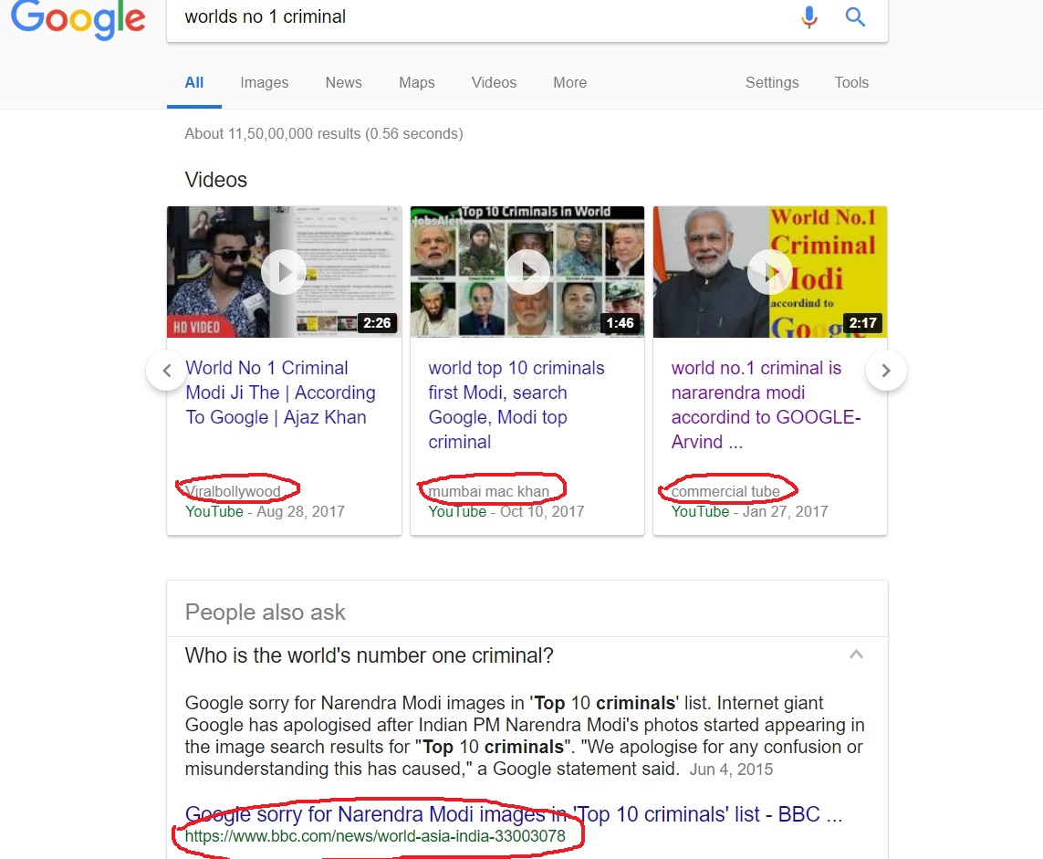 Why Google Shows Narendra Modi Is Worlds No 1 Criminal