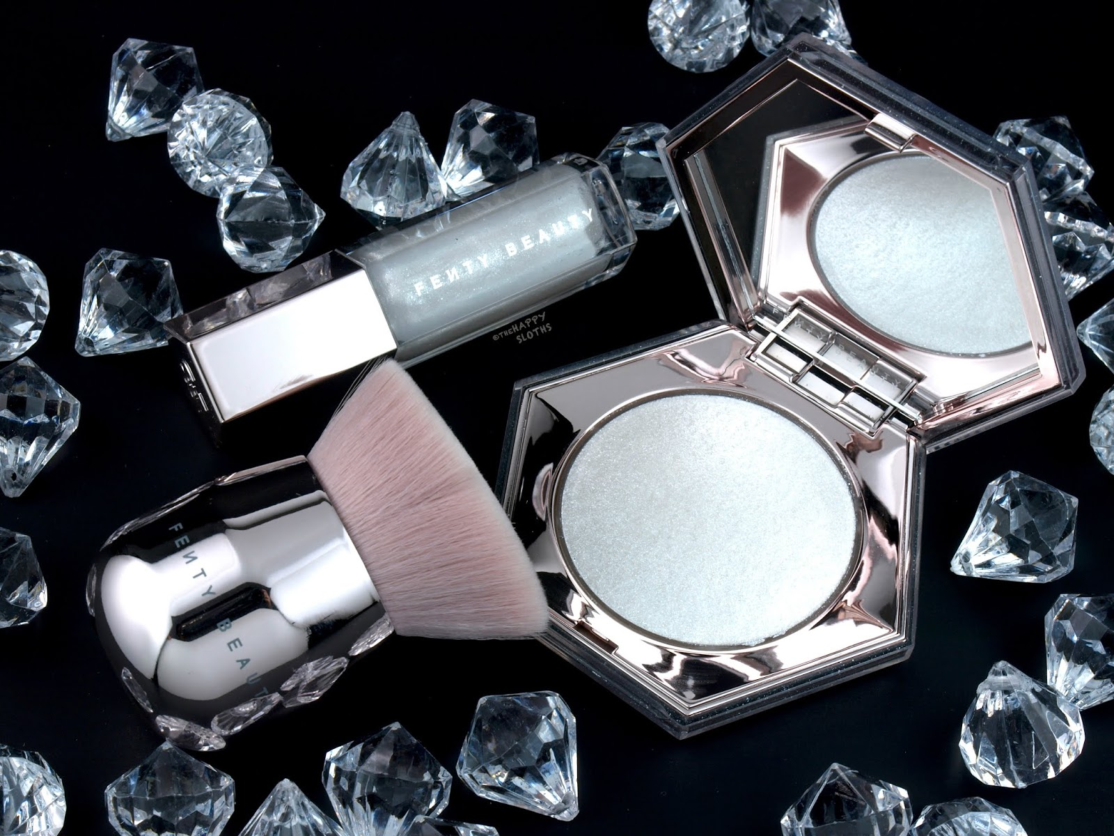 "Fenty Beauty by Rihanna | Diamond Bomb All-Over Diamond Veil & ""Diamond Milk"" Gloss Bomb Universal Lip Luminizer: Review and Swatches"